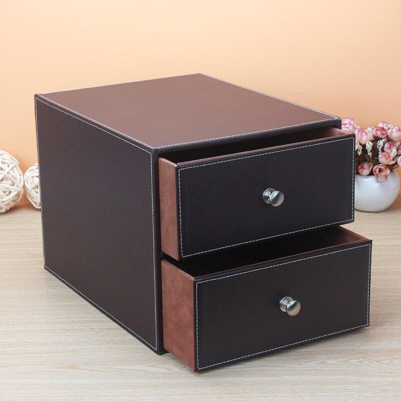 Multi funzionale creative desktop cura della pelle Contenitori per frigo e biancheria di cuoio con armadio di stoccaggio di legno file di office box di smistamento ZP7041113 - 4