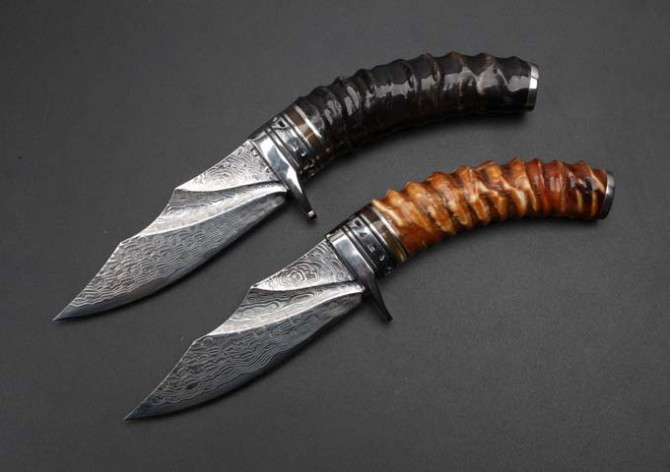 Collection Damascus Steel Cornu Procaprae Gutturosae Handle Hunting Knife Outdoor Straight Knives Camping Survival Tools Newest цена