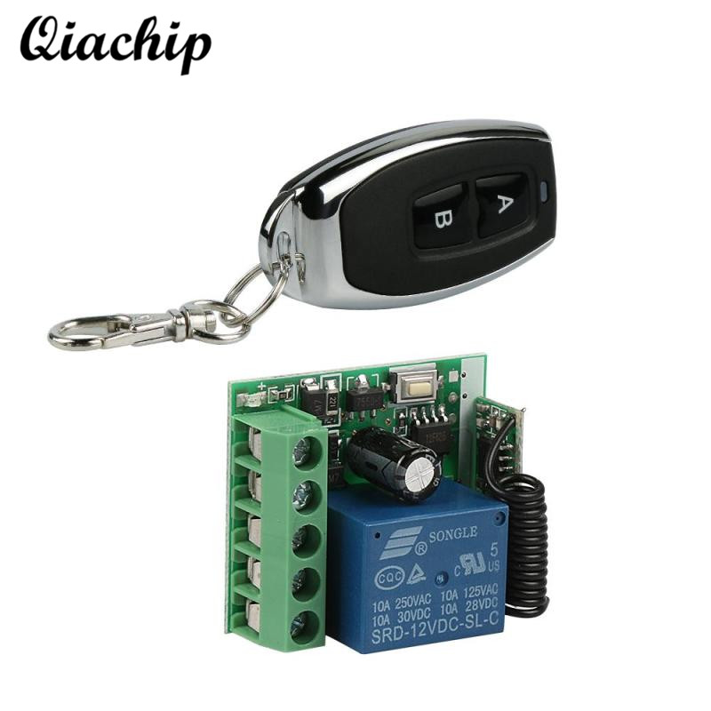 QIACHIP 433Mhz DC 12V Wireless Remote Control Switch Relay Receiver Module + RF 433 Mhz Transmitter For Electronic Lock Control dc 3 5v 12v mini relay switch receiver 7 transmitter lock unlock