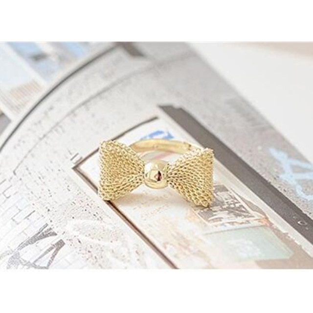 Fashion European Bow Wedding Ring With Crystal Compatible Women Silver Gold-colo