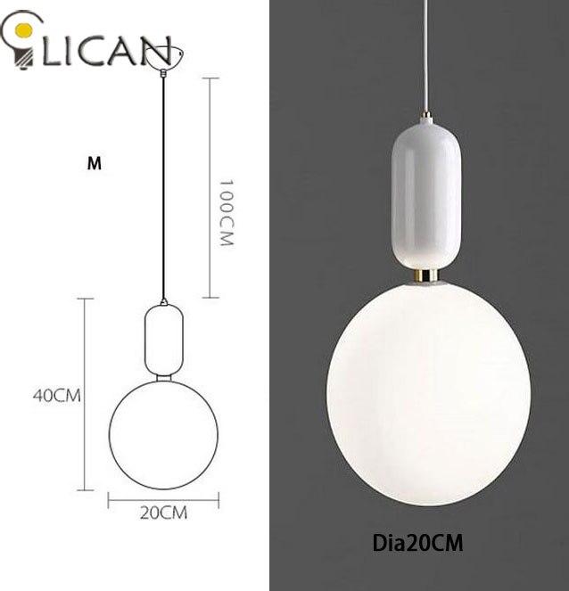 LICAN креативный скандинавский Parachilna ablls светодиодный подвесной светильник, металлическая пластина из молочного матового стекла, Подвесная лампа для столовой - Цвет корпуса: Dia20CM