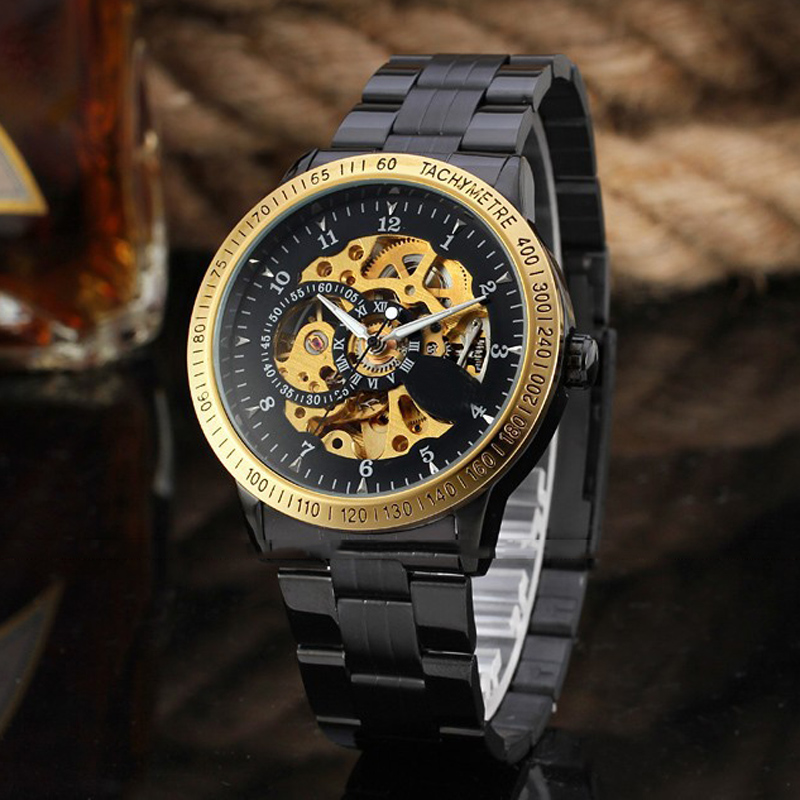 Automatic Self-Wind Mechanical Mens Watches Vintage Stainless Steel Antique Skeleton Black Gold Skeleton Fashion New WristwatchAutomatic Self-Wind Mechanical Mens Watches Vintage Stainless Steel Antique Skeleton Black Gold Skeleton Fashion New Wristwatch