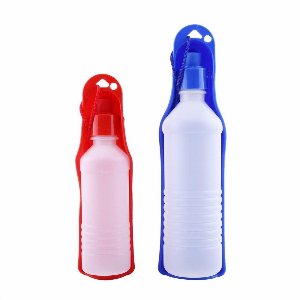 Plastic Pet Travel Water Drinking Bottle Portable Pet Dog: Dog Water Bottle Feeder With Bowl 250ml 500ml Plastic