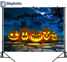 DePhoto Seamless Photography Backdrop Halloween Horror House Pumpkin Path Background Photobooth Photocall Customize Decoration