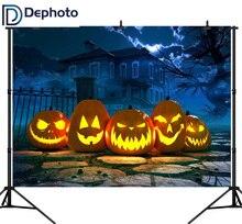 DePhoto sans couture photographie toile de fond Halloween horreur maison citrouille chemin fond Photobooth Photocall personnaliser décoration