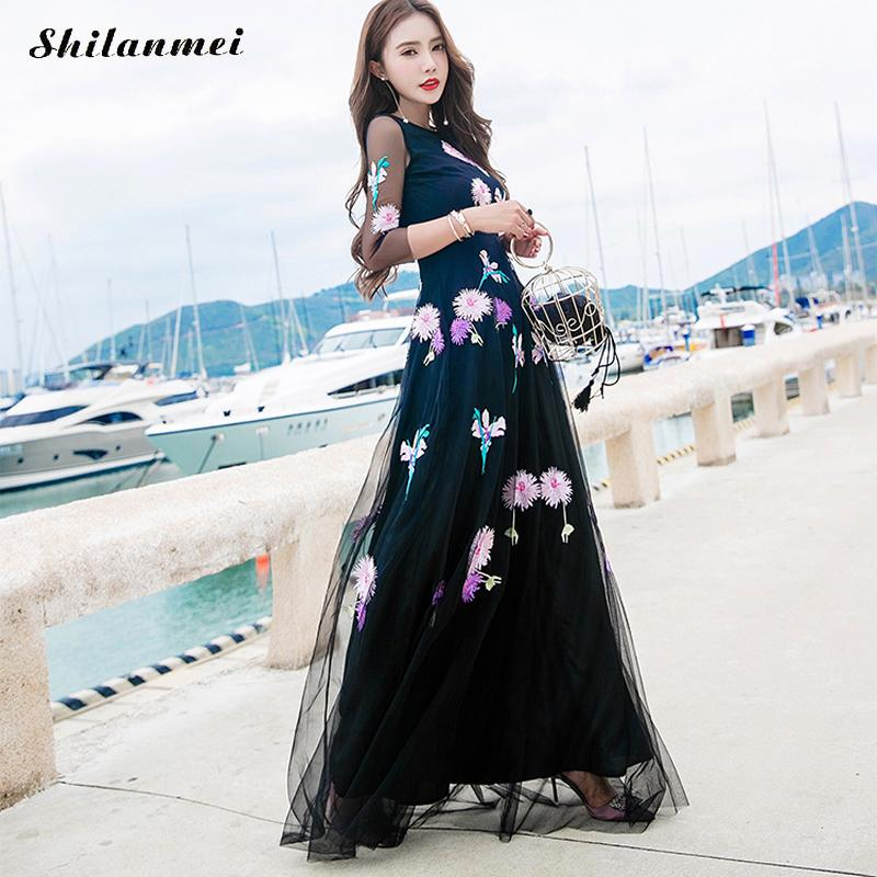 2018 New Eelgant Runway Embroidery Lace Maxi Dress Women Fashion Long Sleeve Tulle Gauze Flower Floral Black Vintage Long Dress