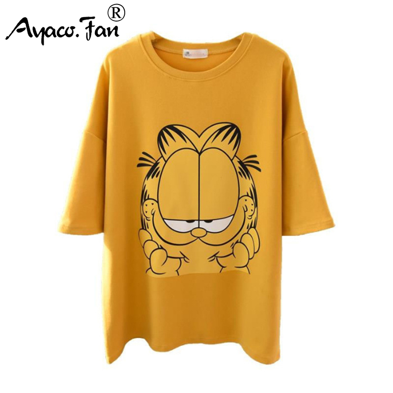 2019 New Spring Summer Cute Cartoon Cat Print Loose Women's T-Shirts For Girls Half Sleeve T-Shirt Casual Lady Slim Tops Female