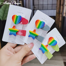 2PCS/set Rainbow Hairpin  For Women Girls Hair Clips Barrettes Acrylic Love Heart Star Hairgrip Ins Side Clamp Accessories