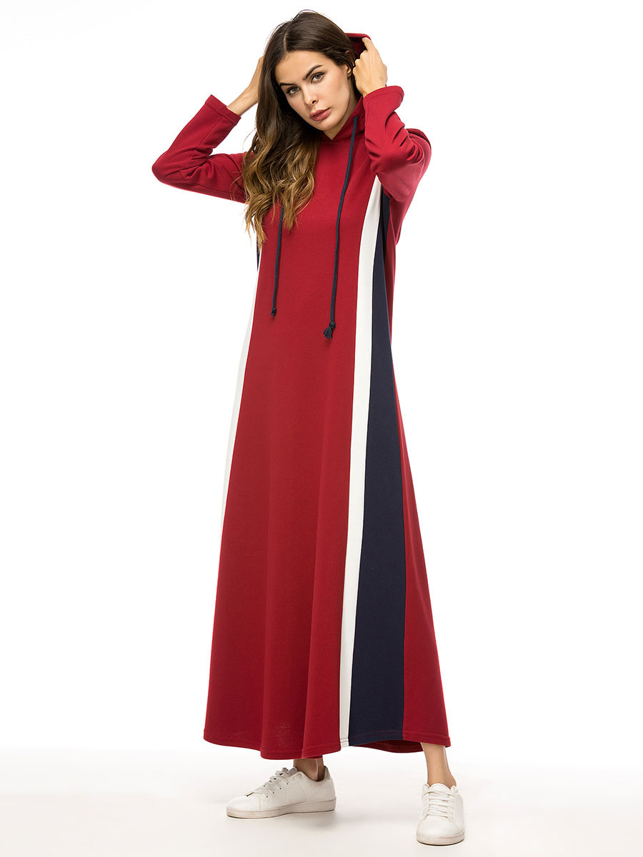 Autumn Winter Cotton Abayas Students Sport Long Dress Arab Full Length Caftan Turkey Middle East Muslim Women Dress Fashion 7329