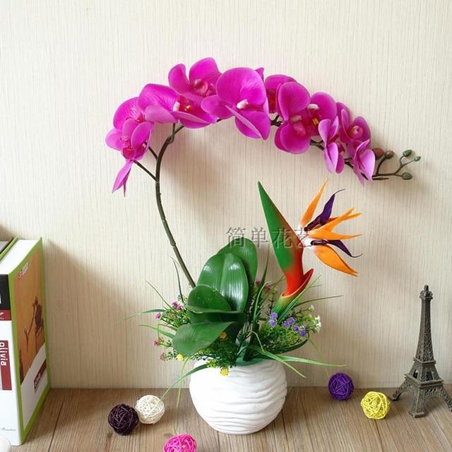 Orchidea Artificiale Bonsai Fiore Di Seta Di Simulazione Uccello Fortunato  Set Invasatura Pianta Verde Vaso Di
