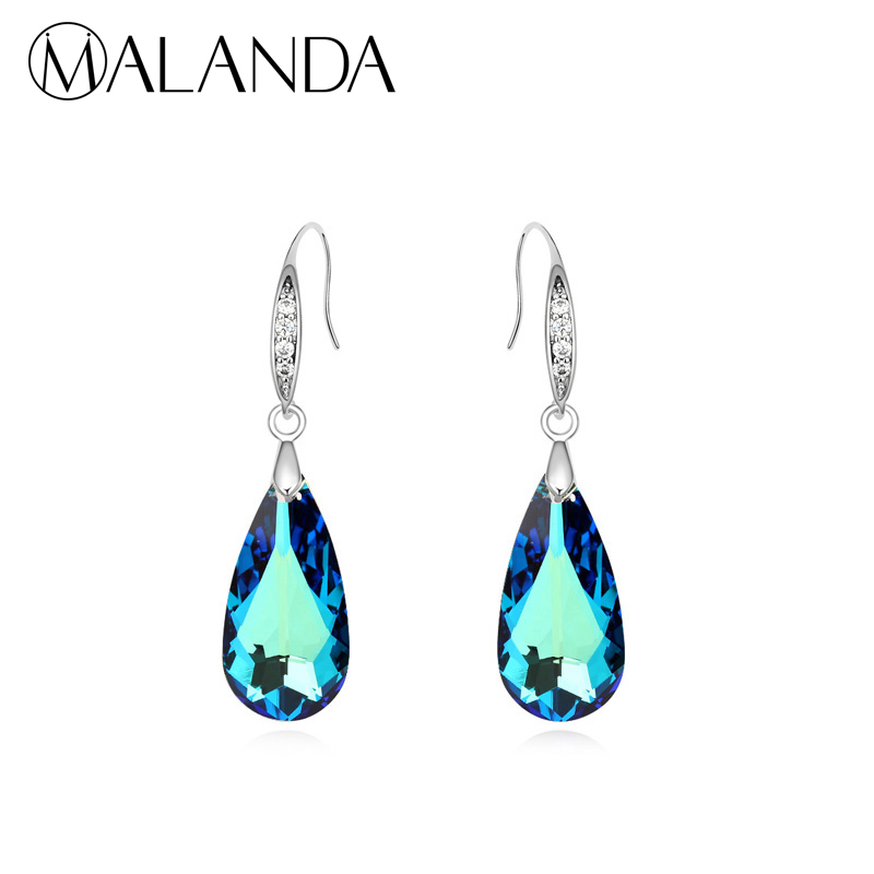 MALANDA Brand Sexy Water Drop Crystal Pendant Crystal From Swarovski Loog Earrings For Women Dangle Earrings Luxury Jewelry Gift 1 pair water drop shape opal crystal earrings dangle earrings gem stone jewelry druzy er307