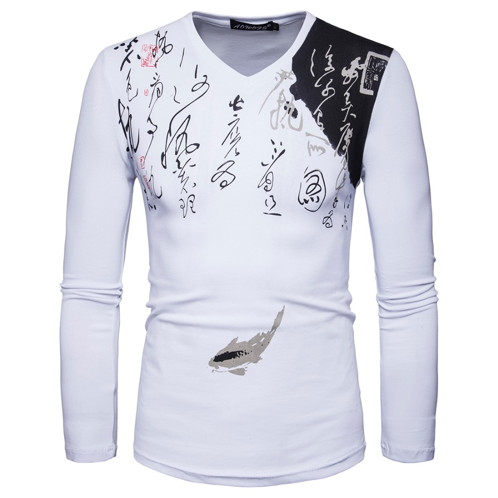 2017 New font b Men b font Long Sleeve V Neck Designer Chines Calligraphy Casual T