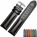 CARLYWET 18 20 22mm Men Women Handmade Leather VINTAGE Black Brown Blue Green Wrist Watch Band Strap Belt Silver Polished Buckle