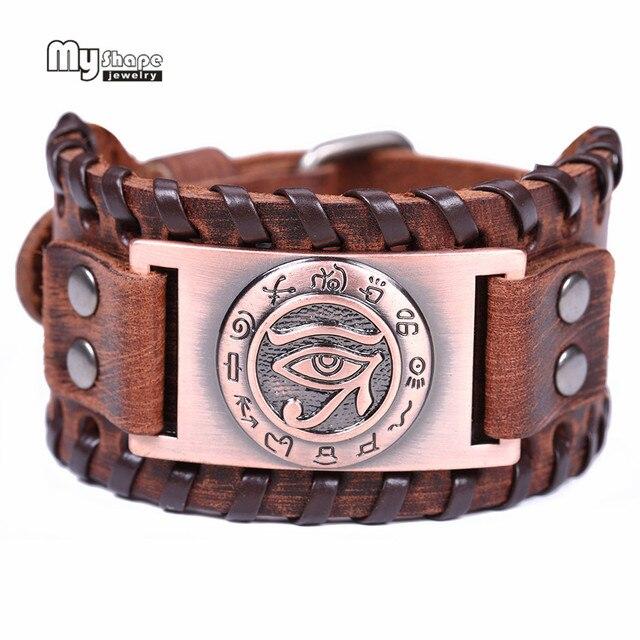 My Shape Religion Viking Bracelet Men Eye Of Horus Wide Genuine Leather Strap Bracelets Bangles Ancient