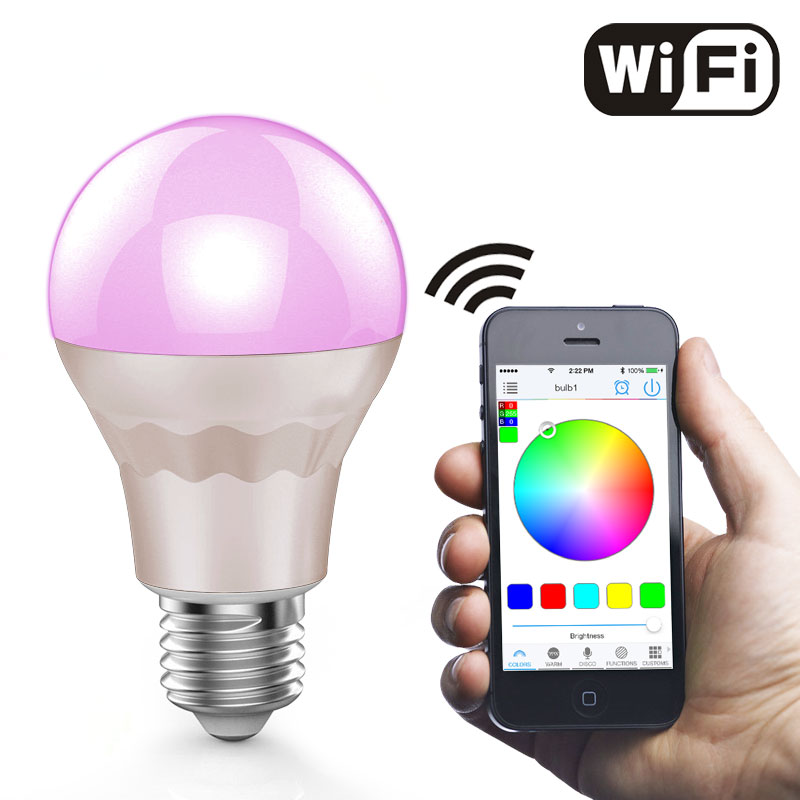 LED Light Smart Wifi RGB White 7.5W E27 remote lampada led light lamp Dimmmable led bulbs for IOS Android led bulb light lamp supoort wifi bluetooth inner wireless remote control rgb white dimmmable e27 base for ios android phone vr