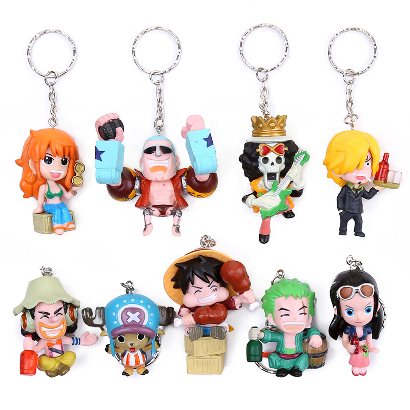 9pcs/set Anime One Piece Keychains Luffy Nami Zoro Chopper Robin Brook Usopp Franky Sanji PVC Figures Toys one set 4 pcs 95mm