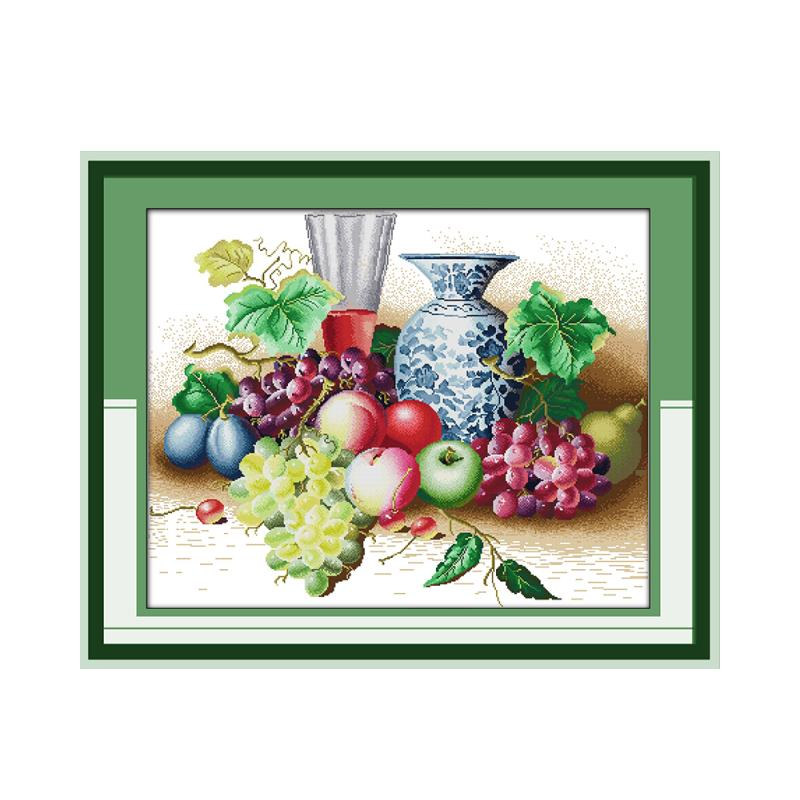 11CT 14CT count mesh cloth hand cross stitch suite fresh fruit grapes apple pear beautiful vase embroidery decorative painting
