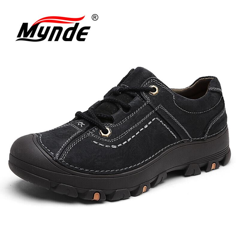 MYNDE Fashion Men Shoes Casual Real Genuine Leather Comfortable Breathable Spring And Autumn Waterproof High Quality Men Shoes new arrival high genuine leather comfortable casual shoes men cow suede loafers shoes soft breathable autumn and winter warm fur