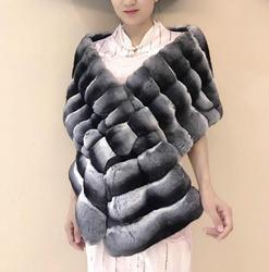 Arlenesain custom 2019 nieuwe fashion design luxe chinchilla bont prachtige splendid wrap vrouwen sjaal 30*180 cm