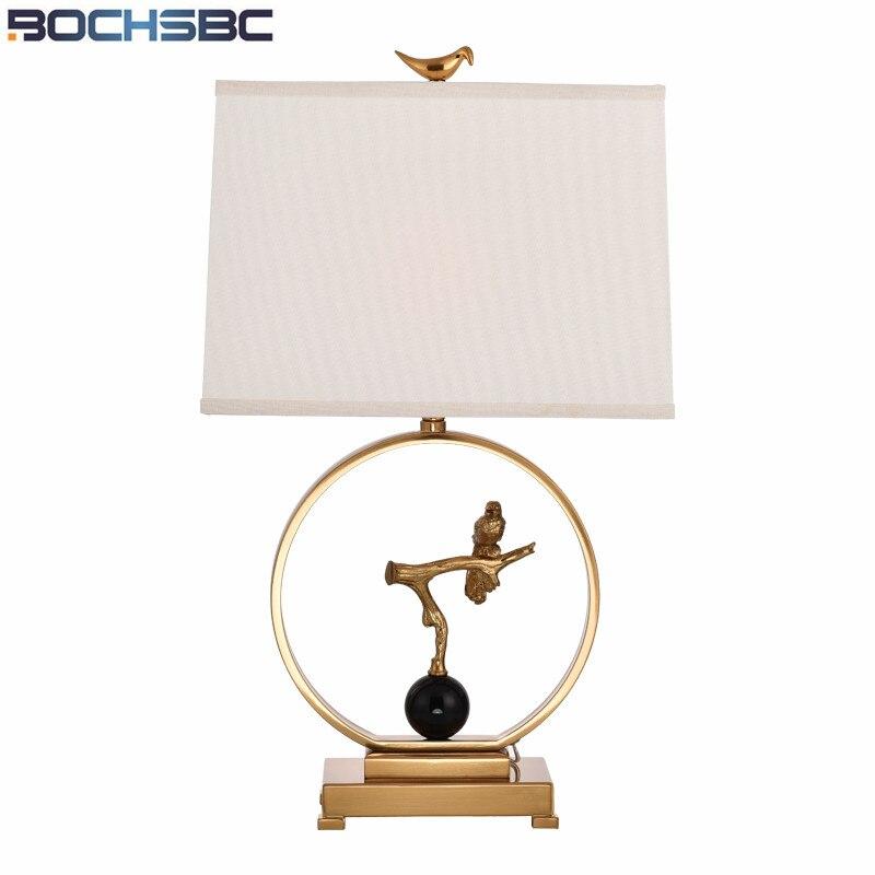 Lampe de Table en tissu américain Simple salon chambre Abajur para quarto étude métal lumière chambre chevet Lampara de mesa oiseaux H69cm