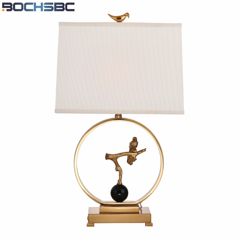 Led Lamps Intellective Fabric Table Lamp American Simple Livng Room Abajur Para Quarto Study Metal Light Bedroom Bedside Lampara De Mesa Birds H69cm