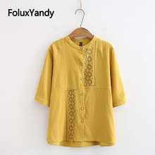 2019 New Vintage Blouse Women O-neck Embroidery Summer Short Sleeve Shirt KKFY3579