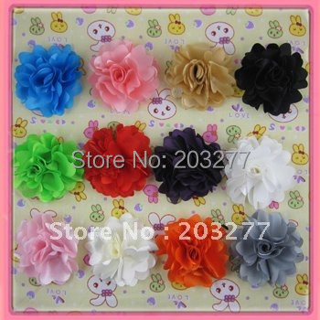 Free shipping!36pcs/lot  2.5'' New satin flowers 14colors for your choose