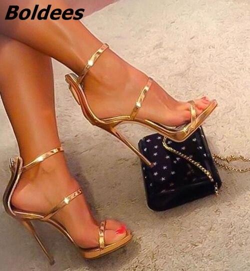 Tout simplement bande-let Design brillant miroir sandales femmes Sexy bout ouvert talon aiguille robe sandales tendance mode fête robe chaussures