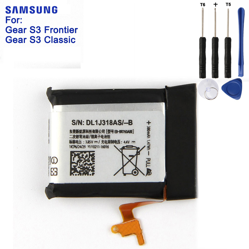 SAMSUNG Original Batterie EB-BR760ABE Für Samsung Getriebe S3 Frontier/Klassische EB-BR760A SM-R760 SM-R770 SM-R765 SM-R765S 380 mAh