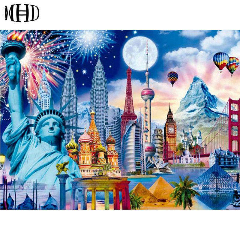 MHD Statue of Liberty Diamond Painting 5d diy Diamond Embroidery Skyscraper, Petronas Twin Towers, Citadel, Group Name Building