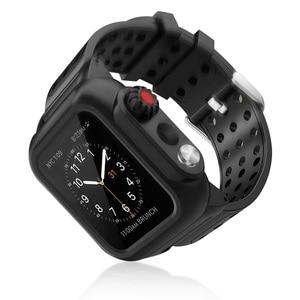 Спортивный водонепроницаемый ПК чехол для Apple Watch Series 5 4 3 40/44/38/42 мм защита экрана ударопрочный чехол с силиконовым ремешком
