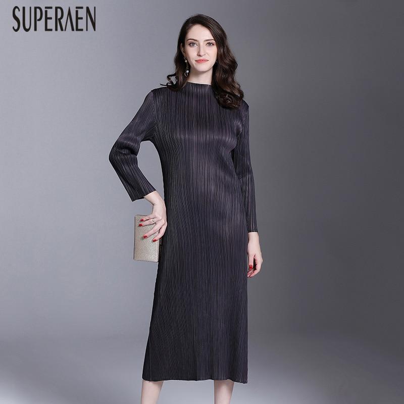 Manches Longues grey Solide black Femme Couleur Sac Purple Robe Kelly Décontracté Vêtement Europe 2019 Mode À Superaen Pour Nouveau nwgP7CCq