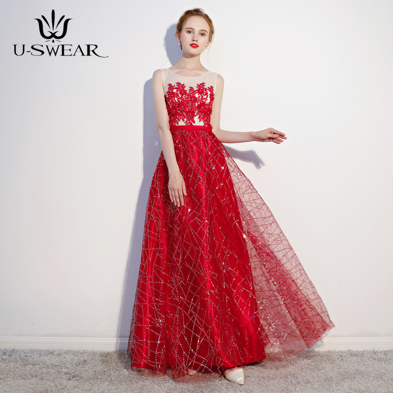 U-SWEAR 2019 New Hot Sale Sexy O-Neck Sleeveless A-Line Long Slim   Evening     Dresses   Party Prom Formal Gowns Vestido Robe De Soiree