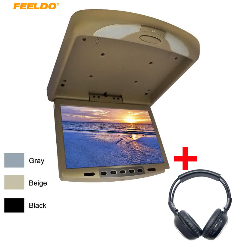 FEELDI 12 Car Bus TFT LCD Roof Mounted Monitor 12Inch Flip Down Monitor with IR Transmitter +Wireless IR Headphones DC12V 12v truck bus 17 inch tft lcd roof mounted monitor flip down monitor for car dvd player tv usb sd fm vga speaker ca1294 12v page 5 page 9