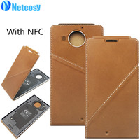 Genuine Leather Flip Case Cover For Microsoft Lumia 950XL For Nokia 950 XL Back Housing Cover