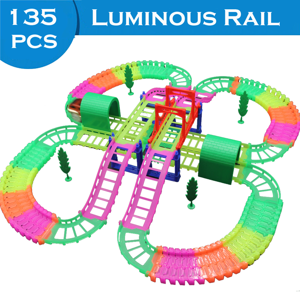 135PCS Luminous Rail Track Connect 2 Type Railway Magical Racing Track Play Set DIY Bend Flexible Race Track Car Toys For Kids