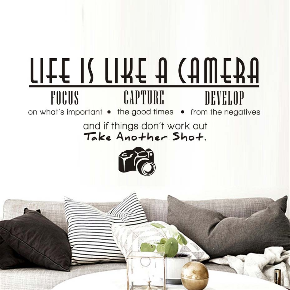 Life Is Like A Camera Wall Sticker Living Room Office Study PVC Removable Waterproof DIY Large Vinyl quotes Home Decor Wallpaper