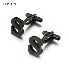 Lepton Stainless steel Letters S Cufflinks for Mens Black & Silver Color Letters S of alphabet Cuff links Men Shirt Cuffs Button igame letters cufflinks silver color fashion english letters design 26 letters copper material free shipping