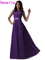 Modest Purple Bridesmaids Dresses Long Sleeveless Chiffon Beach Wedding Party Dresses Maids of Honor Gowns Custom Made Country