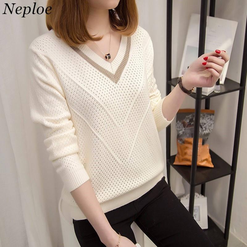 Neploe suéteres y suéteres de manga larga v-cuello Delgado suéter de punto  de Corea 021b19a0cdf9