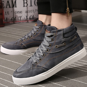 Image 5 - Mens denim footwear wear resistant fashion high top sneakers casual shoes men lace up 2019 hot brand shoes black