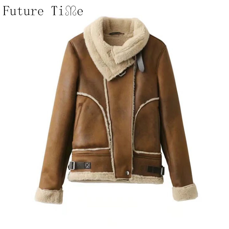 Future Time Women Faux Leather Berber Jacket Suede Coats Vintage Motorcycle Thicken Jacket Artificial Fur Warm Coats JacketPU005 inc new beige women s size small s faux leather knit motorcycle jacket $99