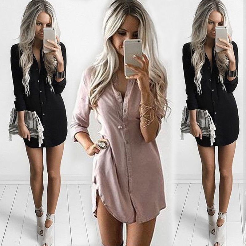 Plus Size Womens Summer Chiffon Fashion Spring Casual Long-Sleeve Tops Long-Length Solid V-Neck Regular Blouse