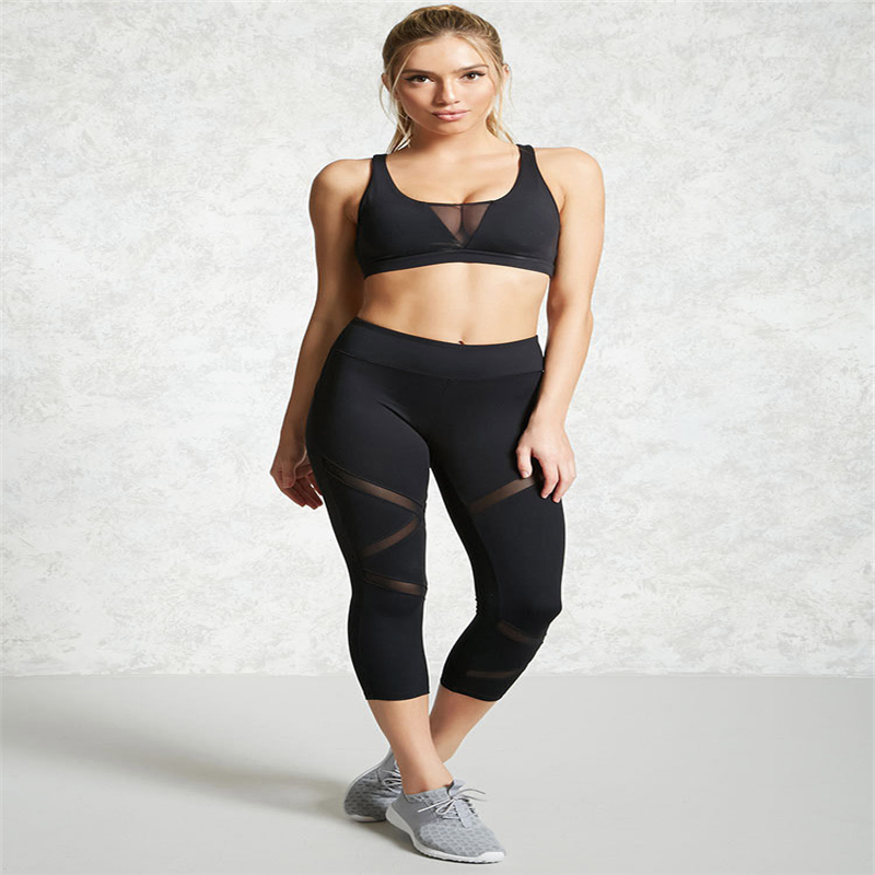 Black Mesh Patchwork Pants Capris  Fitness Trousers Tights Pants Plus Size XL