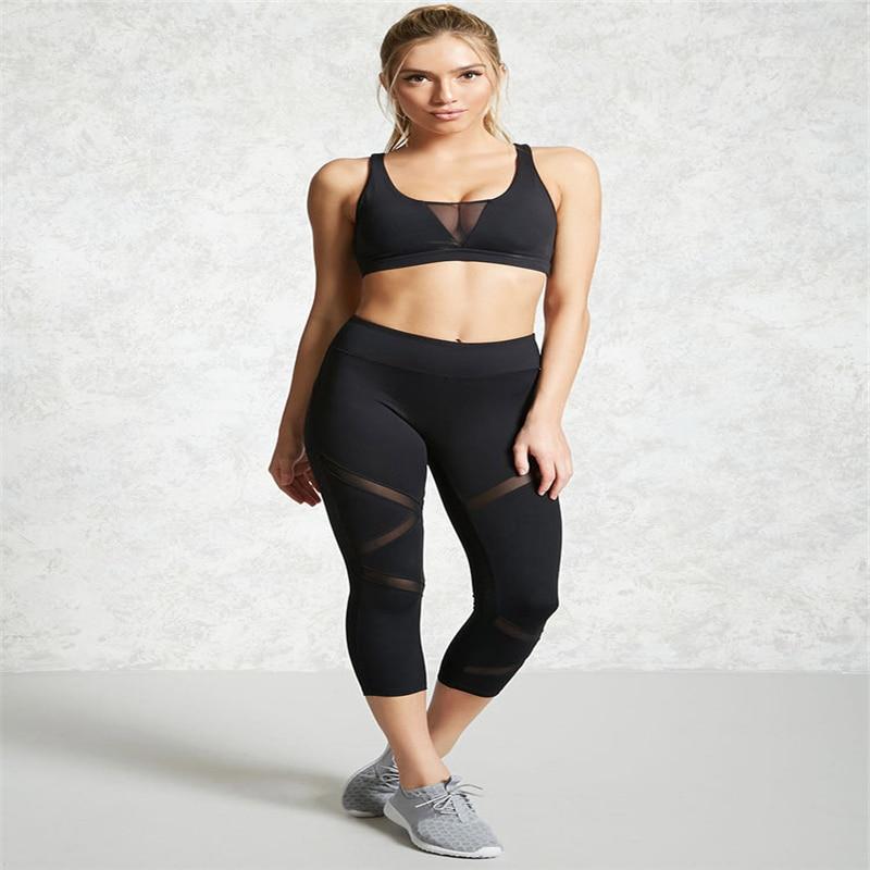 Black Mesh Patchwork   Pants     Capris   Fitness Trousers Tights   Pants   Plus Size XL