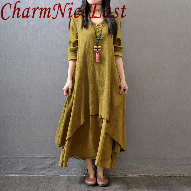 2018 Women Double Layers Long Spring Fall Loose Linen Maternity dress Tops Vintage Maxi Tunic White Red Dress Boho Plus Size 5XL