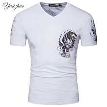 High Quality Men Short Sleeve V Neck Designer Chinese Dragon Casual T Shirt Fashion White Slim Cotton T Shirt S-XXL D073