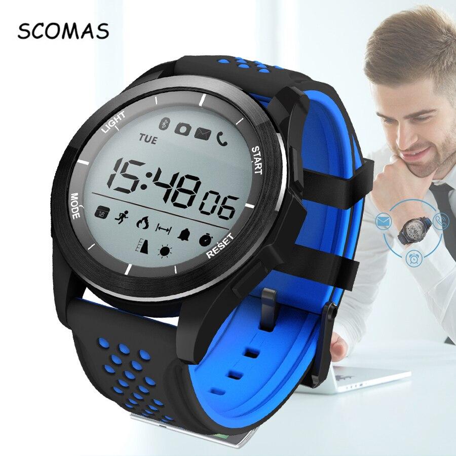 SCOMAS F3 Bluetooth Relojes Inteligentes Hombres Impermeable Smartwatch Podómetro Rastreador De Ejercicios con la Cámara A Distancia para Android IOS