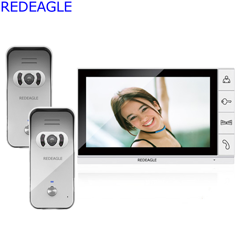 REDEAGLE 9 inch LCD Home Video Door phone Doorbell System with 1 Monitor and 2 calling Panels Outdoor Camera unit DHL EMS Free dhl ems 2 lots l