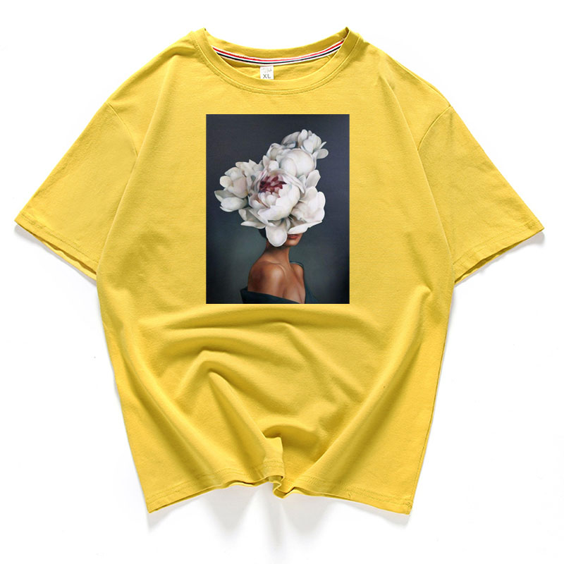95% Cotton Bloom Flower Feather Women T -shirt Summer Short Sleeve Round Neck Harajuku Printing Tee Casual Fashion Female Tops 5
